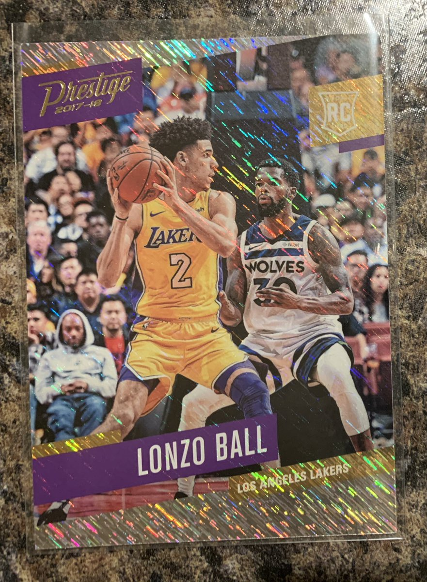 @PeoplesChoiceRG Lonzo Ball Prestige RC Rain parallel. $7 shipped PWE at your own risk or $9 BMWT (USA). #lakers #ucla #pelicans #lonzo