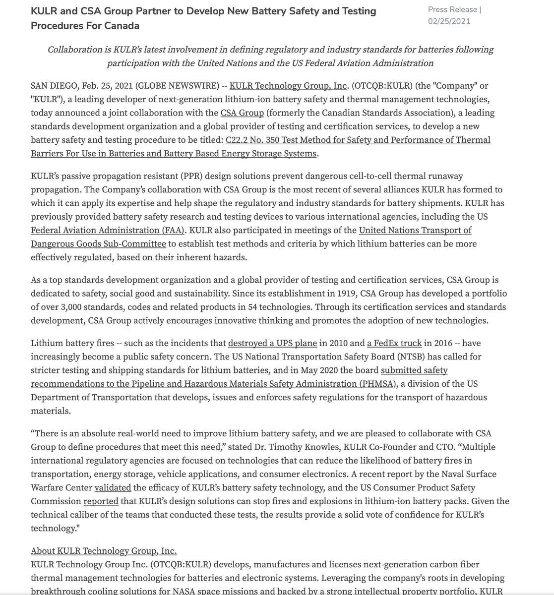 $KULR New Battery Safety and Testing   #wsj #nytimes #business #reuters #IHub_StockPosts #forbes #marketwatch #cnn #bet #foxnews #latimes #Benzinga #Crainschicago #usatoday #ESPN #barronsonline #WGN #IBDinvestors #cnnmoneyinvest #NASDAQ