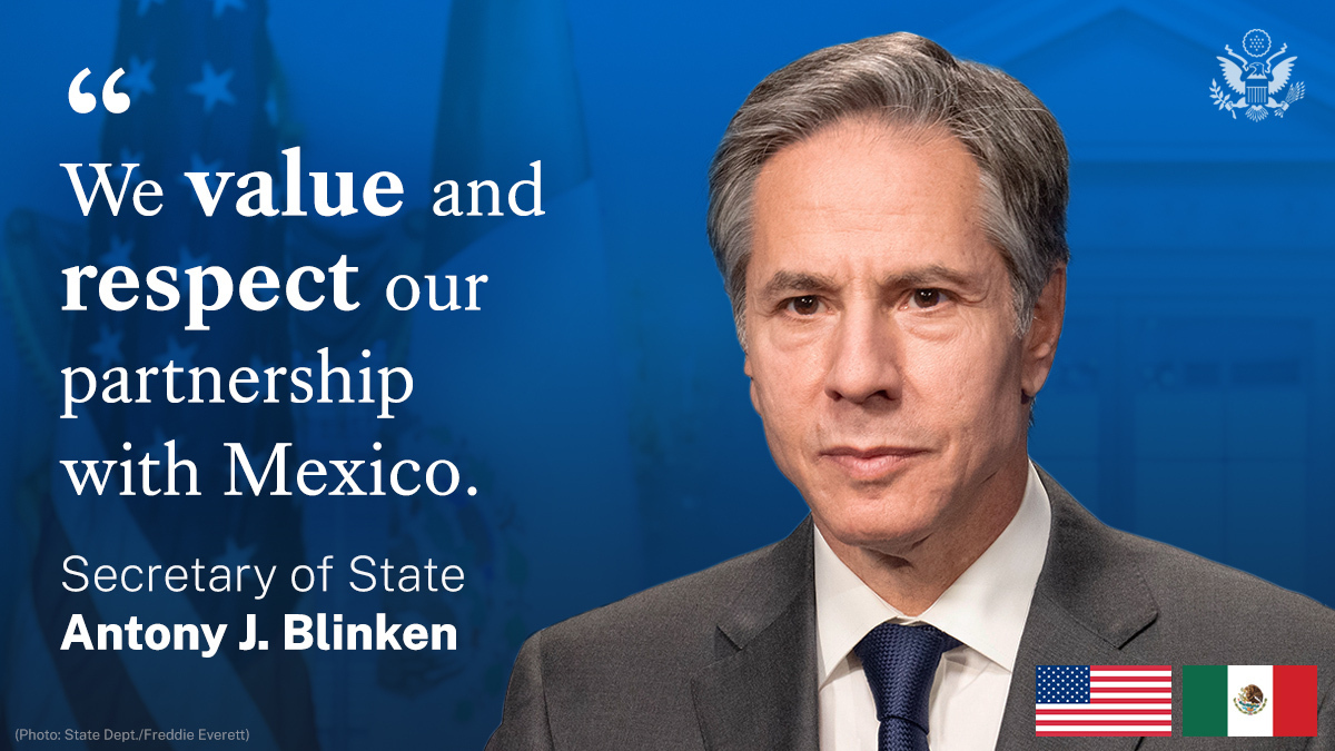 .@SecBlinken during his virtual visit to Mexico: Wevalueandrespectour partnership with Mexico,andwe depend on it every single day. So we'll continue to work together closely to advance our shared goalsanddeliver results for our people.