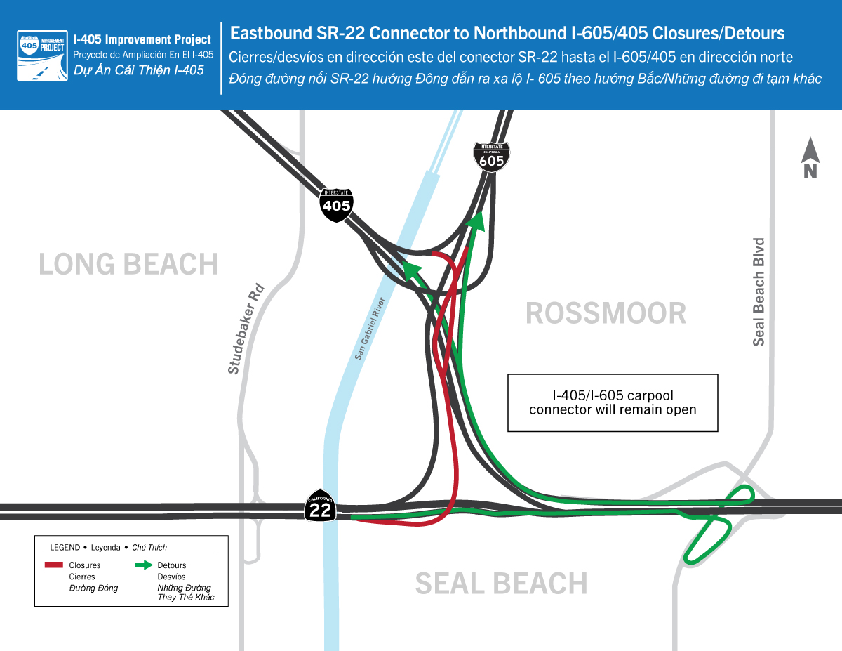 CONSTRUCTION ALERT: the Eastbound SR-22 connector to Northbound I-605/I-405 will be closed from 10:00 p.m. Fri. March 5 until 5:00 a.m. Mon. March 8.  goOCTA CHP_OC 405improvement  #ConstructionAlert #Closure #405Improvement