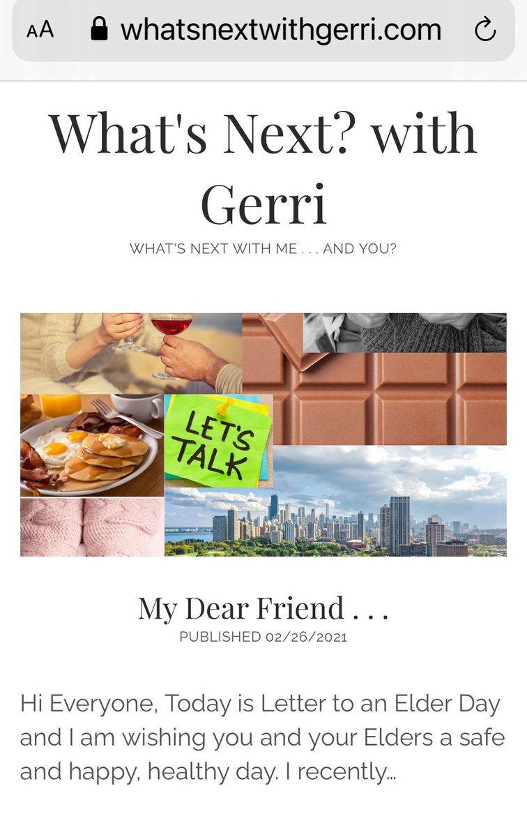 My New Blog Post! #Blog #Friends #Family #Elders #Connect #Love #Memories #Quarantine #Home #StayHome #Health #Wellness #Coronavirus #Pandemic #Healthy #Projects #Together #WeWillGetBackToNormalSoon #WhatsNextwithGerri