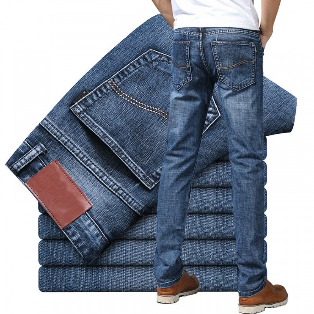 #lifestyle #boutique 2020 Men's Jeans New Slim Straight Stretch Male Denim Pants Streetwear Blue Gray Casual Denim Trousers Fashion Mens Jeans Brand