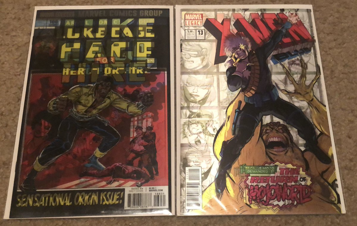 Two more pulls from a  #Walmart #comicbook 3-pack. #LukeCage 166, and #XMenBlue 13 homage variant lenticular covers.  #comicbookcollection