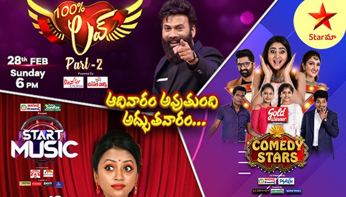 """""""A family, who spends #Sunday together, stays together. """"🤗   Isn't cool? So, stay tuned to @StarMaa & watch #ComedyStars, #StartMusic and #100PercentLove Part -2 & have a SUPER SUNDAY🥳  For details👇   #SundayFunday #SundayVibes #StarMaa  @IndianClicks"""