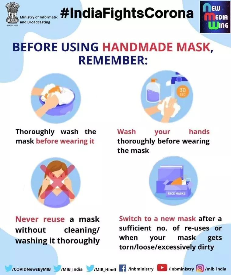 #IndiaFightsCorona:   😷Things to remember before using the home-made mask👇  ➡Thoroughly wash the mask  ➡Wash your hands before wearing mask ➡Never reuse a mask without cleaning it  ➡Switch to a new mask after a sufficient no. of re-uses  #StaySafe #Unite2FightCorona