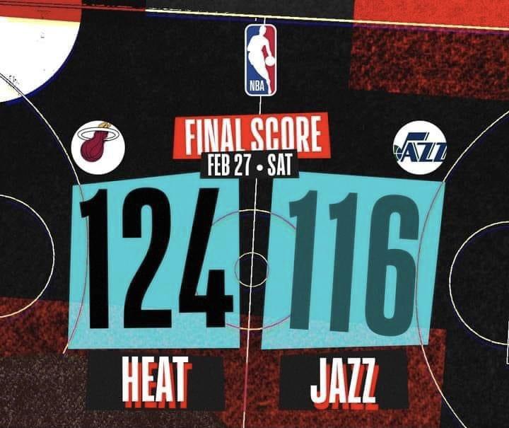 Se acabó la racha de 10 victorias en 11 partidos para Utah. ❌ Miami los derrota 124-116, con un partidazo de Jimmy Butler, con 33 puntos y 10 rebotes. 🔥🏀💪🏽  #nba #TakeNote #heattwitter #VivimosElJuego