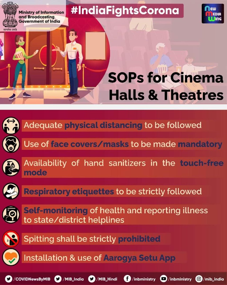 #IndiaFightsCorona:  📍SOPs for Cinema Halls and Theatres:  ➡️ Adequate physical distancing to be followed ➡️ Use of face masks to be made mandatory ➡️ Respiratory etiquettes to be strictly followed ➡️ Spitting shall be strictly prohibited  #Unite2FightCorona #StaySafe