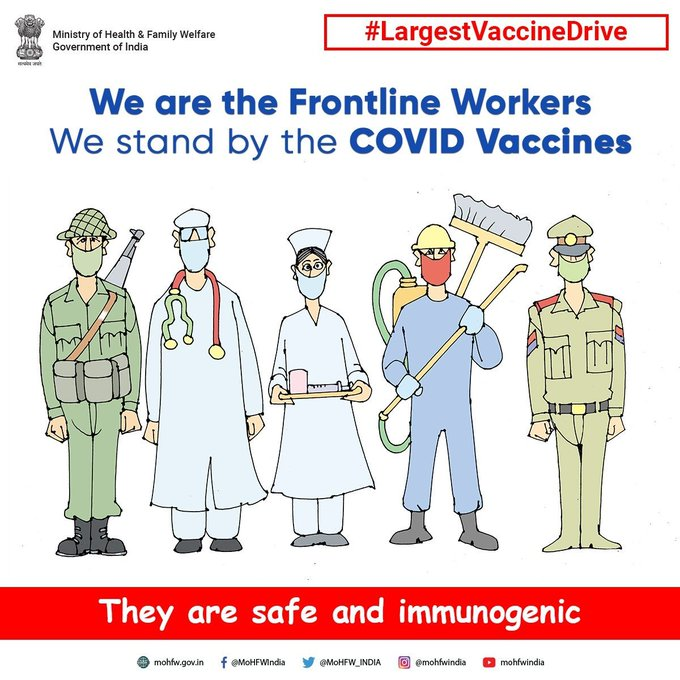 #COVIDVaccination #largestVaccinationdrive   Don't lower guards even if one is vaccinated, keep a safe distance, use mask and wash hands regularly. #JanAndolan #COVID19