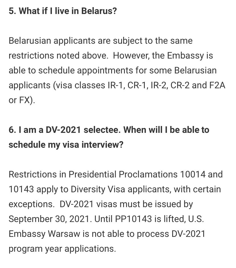 @BritSimonSays what do you think about the Schengen ban? The Polish Embassy in Warsaw has made it clear to Belarusians that it will not conduct interviews while Proclamation 10143 is in effect    #DV2021 #noban