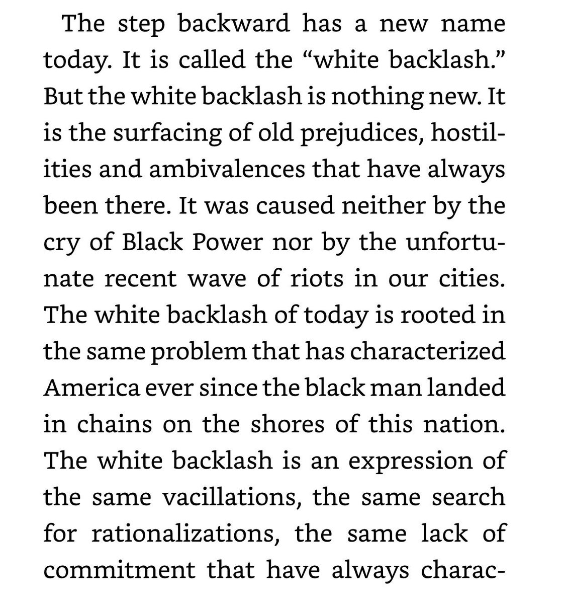"""My father wrote this about """"white backlash"""" 54 yrs ago.  Still powerful, still relevant  Many white people still think Black liberation = loss of freedom for them.  That's because, for hundreds of years, our bondage = prosperity for America.  The soul of this nation is sick. #MLK"""