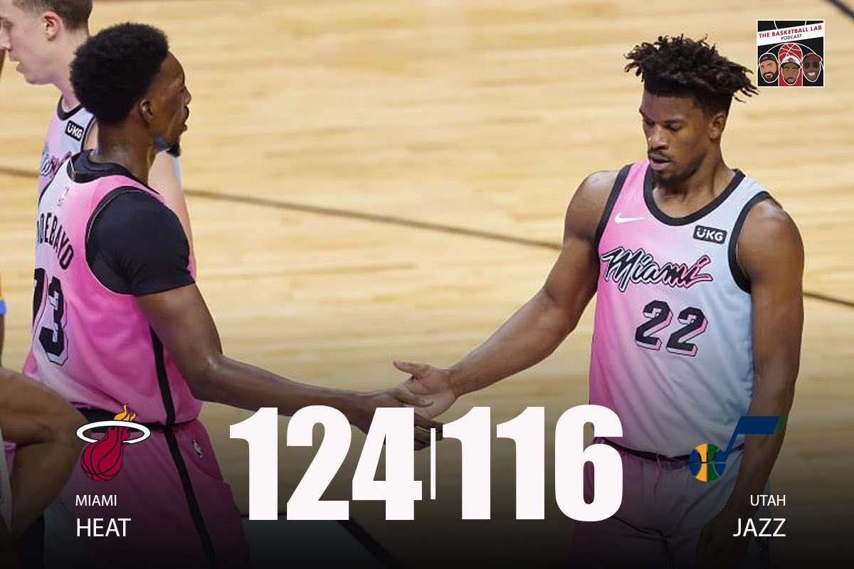@miamiheat and @jimmybutler dropped a game-high 33 points the victory over the @utahjazz   Butler: 33 PTS, 10 REB, 8 AST Adebayo: 19 PTS, 11 REB, 7 AST Mitchell: 30 PTS, 12 REB, 3 AST Gobert: 15 PTS, 12 REB, 2 BLK  #NBA #NBATwitter #NBAAllStar #HeatTwitter
