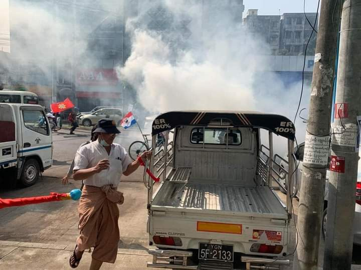 By using tear gas, they terrorized citizens.  #WhatsHappeninglnMyanmar #Feb27Coup https://t.co/gCcEWP6jWu