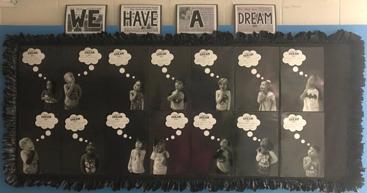 """As we close out Black History Month, take a look at our Kindergarten wall, """"We have a Dream..."""" They are our future and they have BIG dreams! Let us ALL work together so our dreams can become reality! #HornetsRule #OneMillington #BlackHistoryMonth #IHaveADream #OurFuture"""