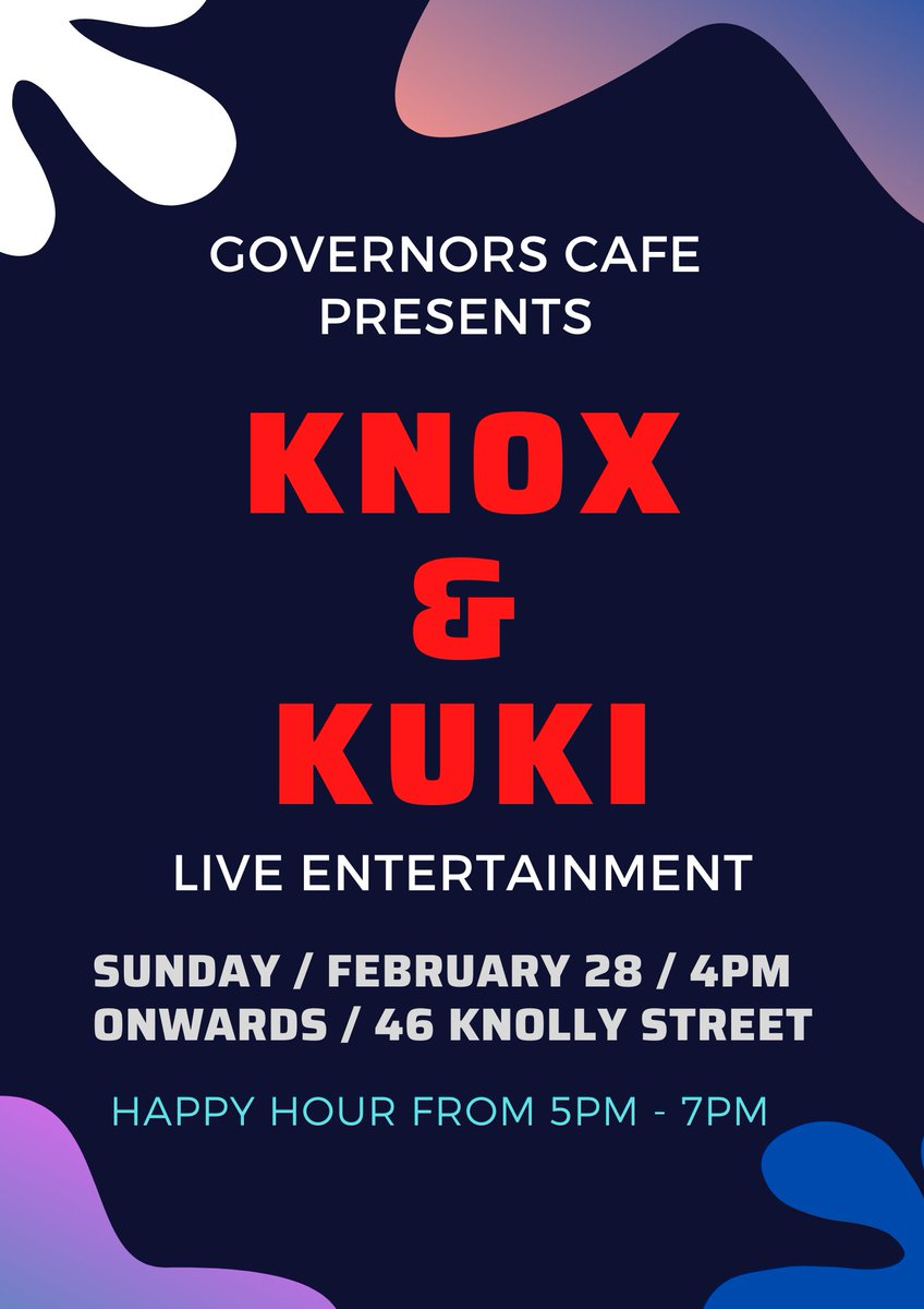 Enjoy your Sunday afternoon listening to cool tunes by Knox & Kuki from 4pm onwards at Governors Cafe!! #SundayVibes #GovernorsCafe #LiveMusic #46KnollyStreet