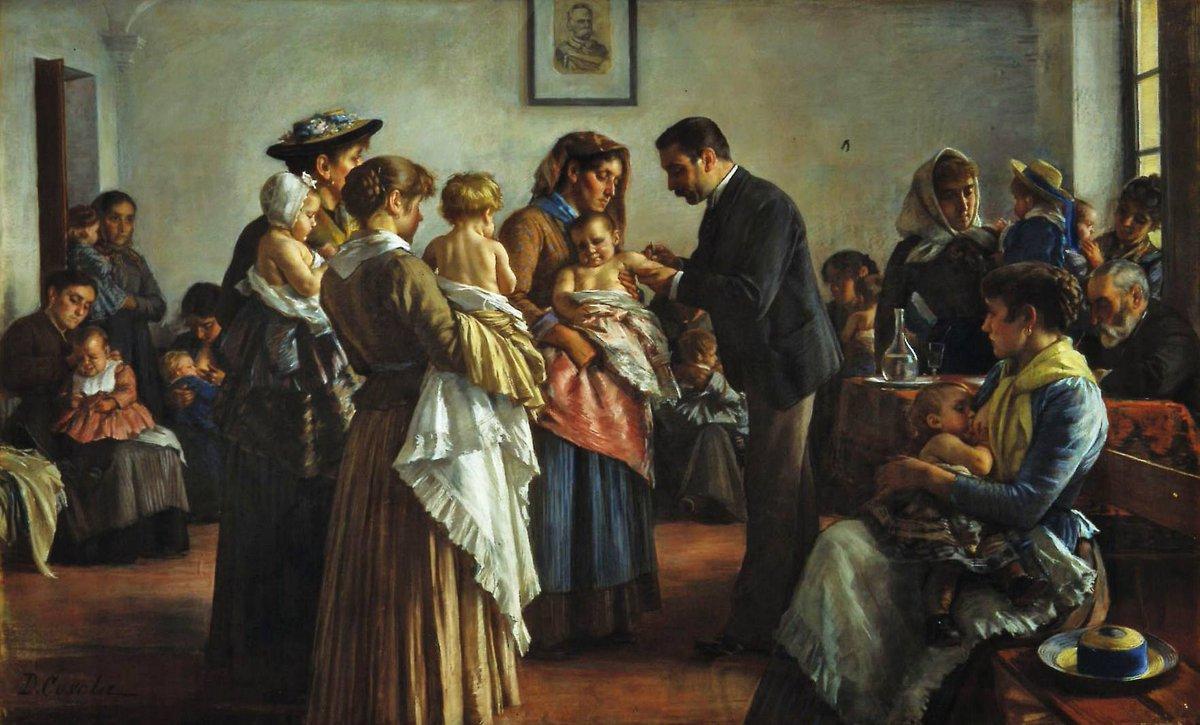 Oggi nel 1895 moriva il pittore #DemetrioCosola.  (LA VACCINAZIONE NELLE CAMPAGNE, anno 1894, pastello su carta telata, cm 240 x 145, Palazzo Santa Chiara, #Chivasso).  #27febbraio.