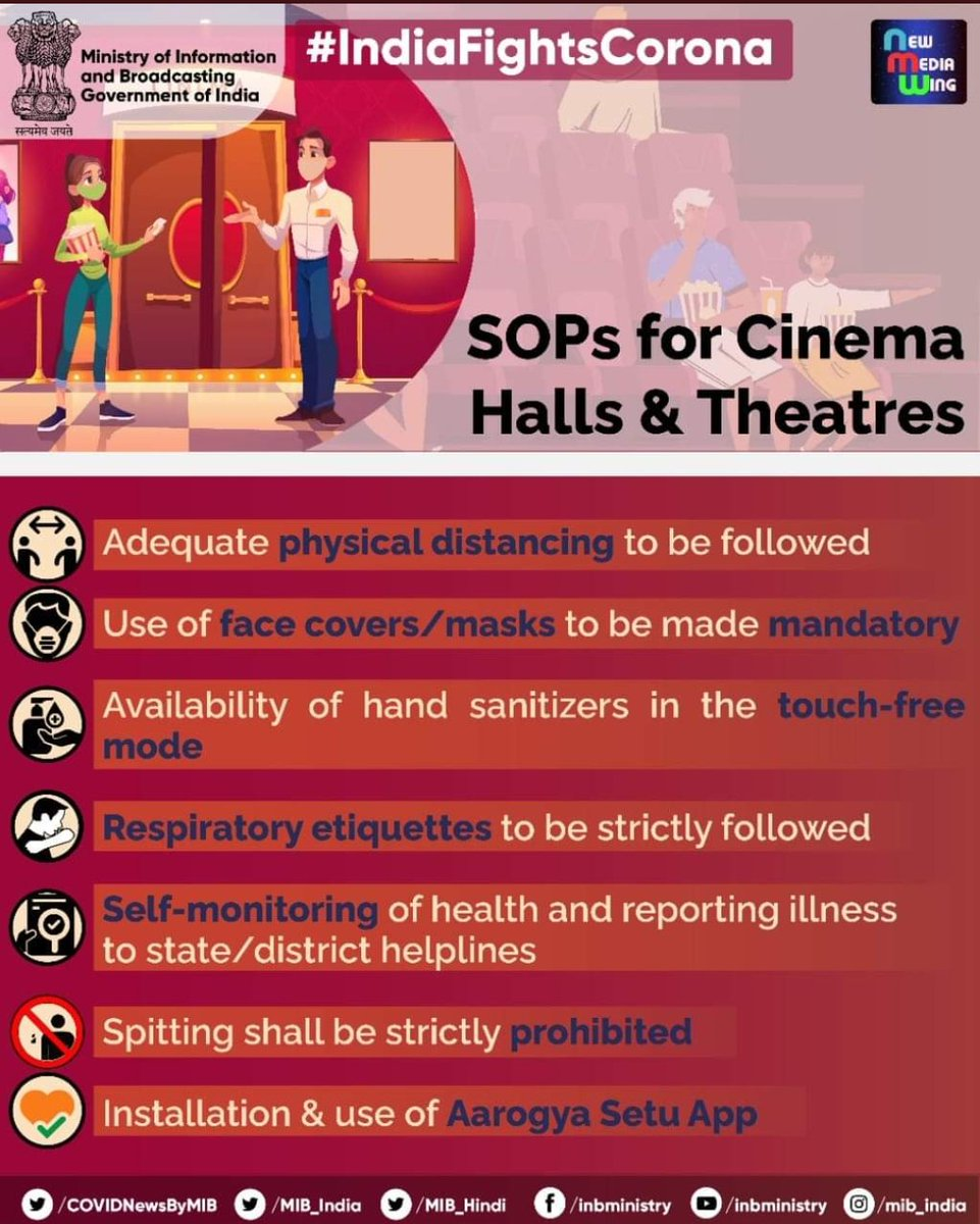 #IndiaFightsCorona #JanAndolan  📍SOPs for Cinema Halls and Theatres  ➡️ Adequate physical distancing to be followed ➡️ Use of face masks to be made mandatory ➡️ Respiratory etiquettes to be strictly followed ➡️ Spitting shall be strictly prohibited  #Unite2FightCorona #StaySafe