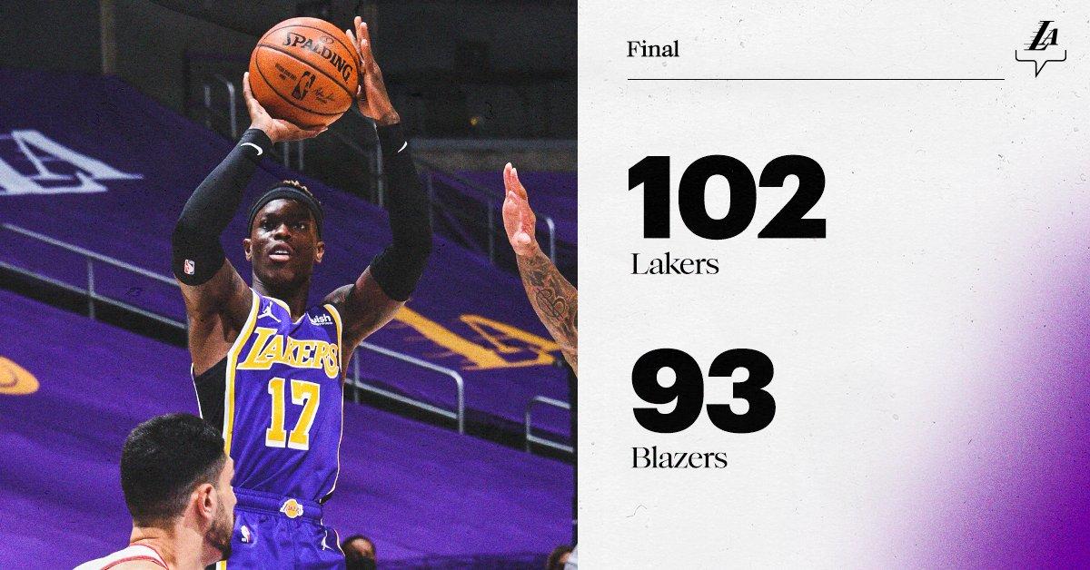 #LakersWin  @KingJames: 28 pts, 11 rebs, 7 asts, 4 stls Schröder: 22 pts, 3 rebs, 2 asts @MONSTATREZZ: 17 pts, 9 rebs