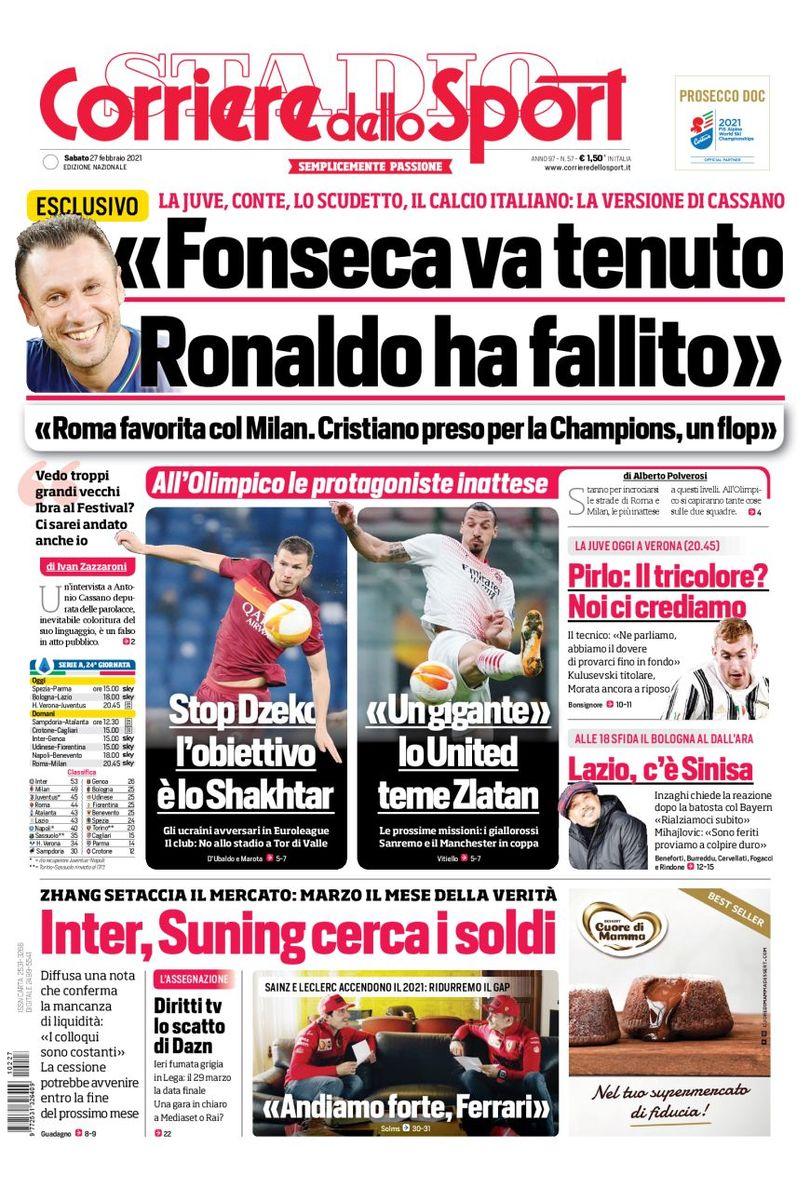 🇮🇹 Front page of #Corsport 📰 2021-02-27   #edicola #primapagina #Juventus #Inter #Milan #Roma #Napoli #Lazio