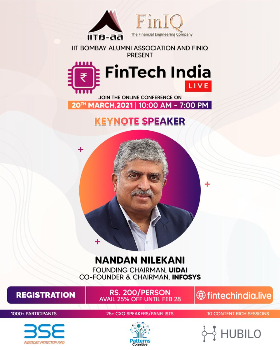 @IITBAA1 and FinIQ present FinTech India Live, a day-long online summit on Saturday, March 20. Nandan Nilekani will be Keynote Speaker. 25+ speakers/panelists. Info: fintechindia.live; register at tinyurl.com/5yzydjay. Registration: Rs. 200; 25% off before Feb 28.