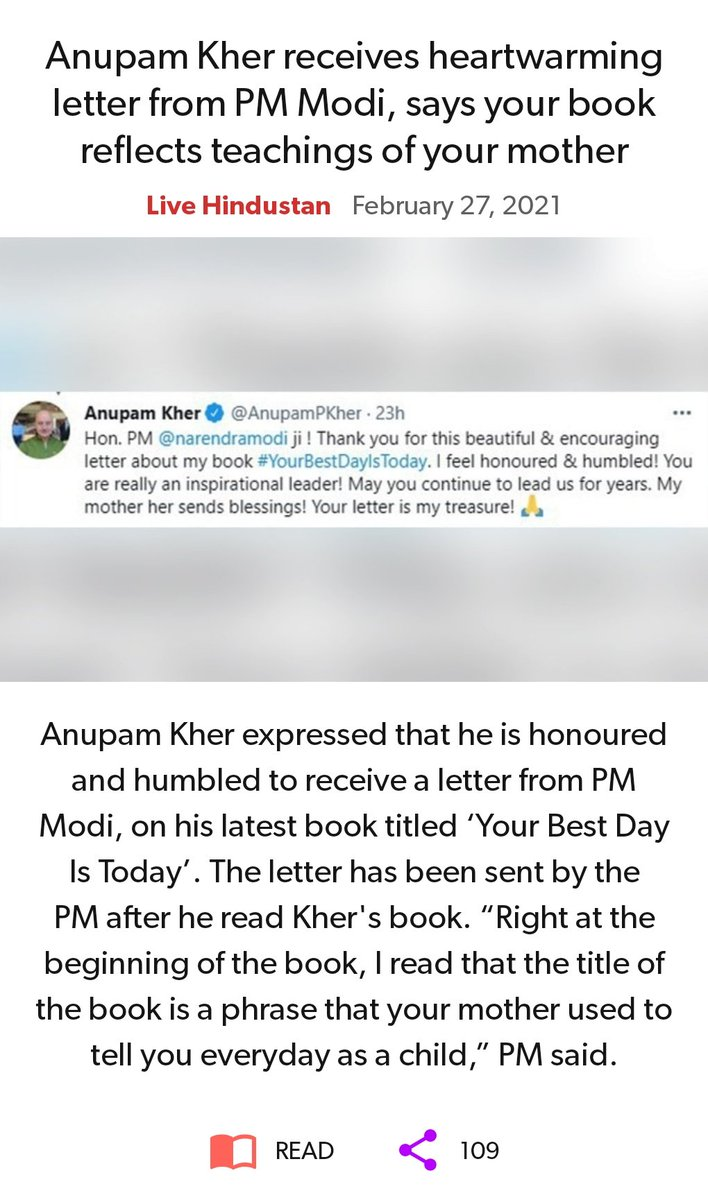 Anupam Kher receives heartwarming letter from PM Modi, says your book reflects teachings of your mother.  #YourBestDayIsToday  @AnupamPKher
