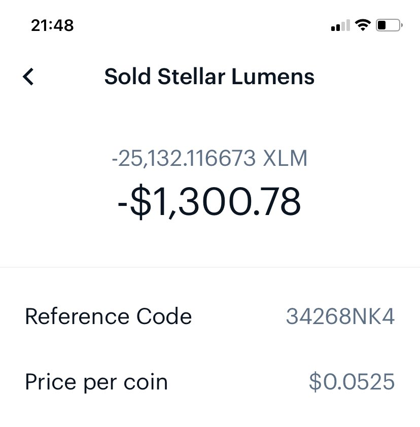 #dogearmy this is what my paper hands did to me with $XLM... had I HODL tight I'd have about $10,000 in $XLM today... not gonna make the same mistake with #dogecoin