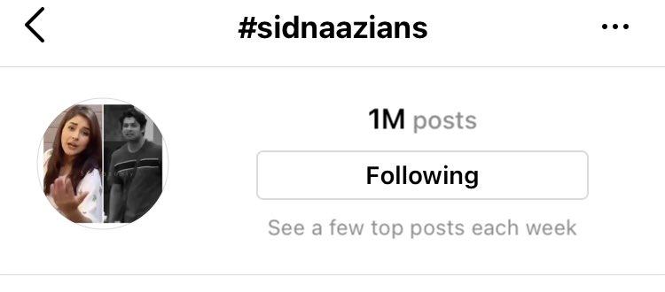 Congratulations all my lovelies n #SidNaaz our #SidNaazians n #SidNaazLovers hangtag  is complete 1M on insta I love u all🤝👏😍😍😍 @sidharth_shukla @ishehnaaz_gill