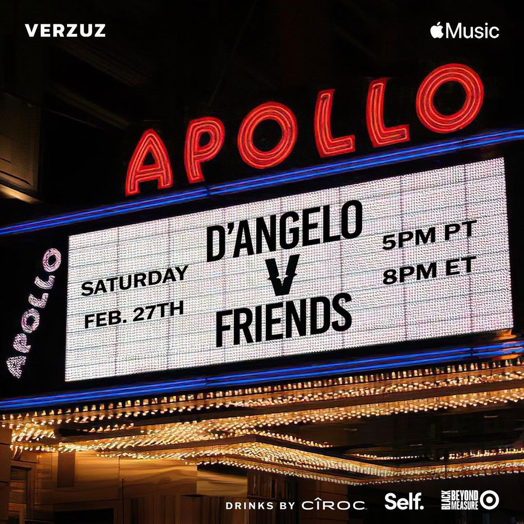 D'Angelo & Friends are taking over the iconic  @ApolloTheater  this Saturday! Tune in 6PM PT / 9PM ET on   #apollotheater #verzuzattheapollo #verzuz #applemusic #verzuztv #BlackHistoryMonth2021  #dangelo #nyc #verzuzbattle #apollo #rnbmusic #theapollo #90smusic #apollohouseparty
