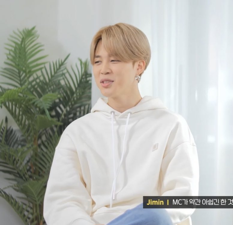 """BE-hind story ""interview   White hoody🤍 Blue jeans💙 Green sneakers 💚 #JIMIN #WeLoveYouJimin #Parkjimin #ThankYouJimin #BEhindStory #BTS #BANGTANTV"