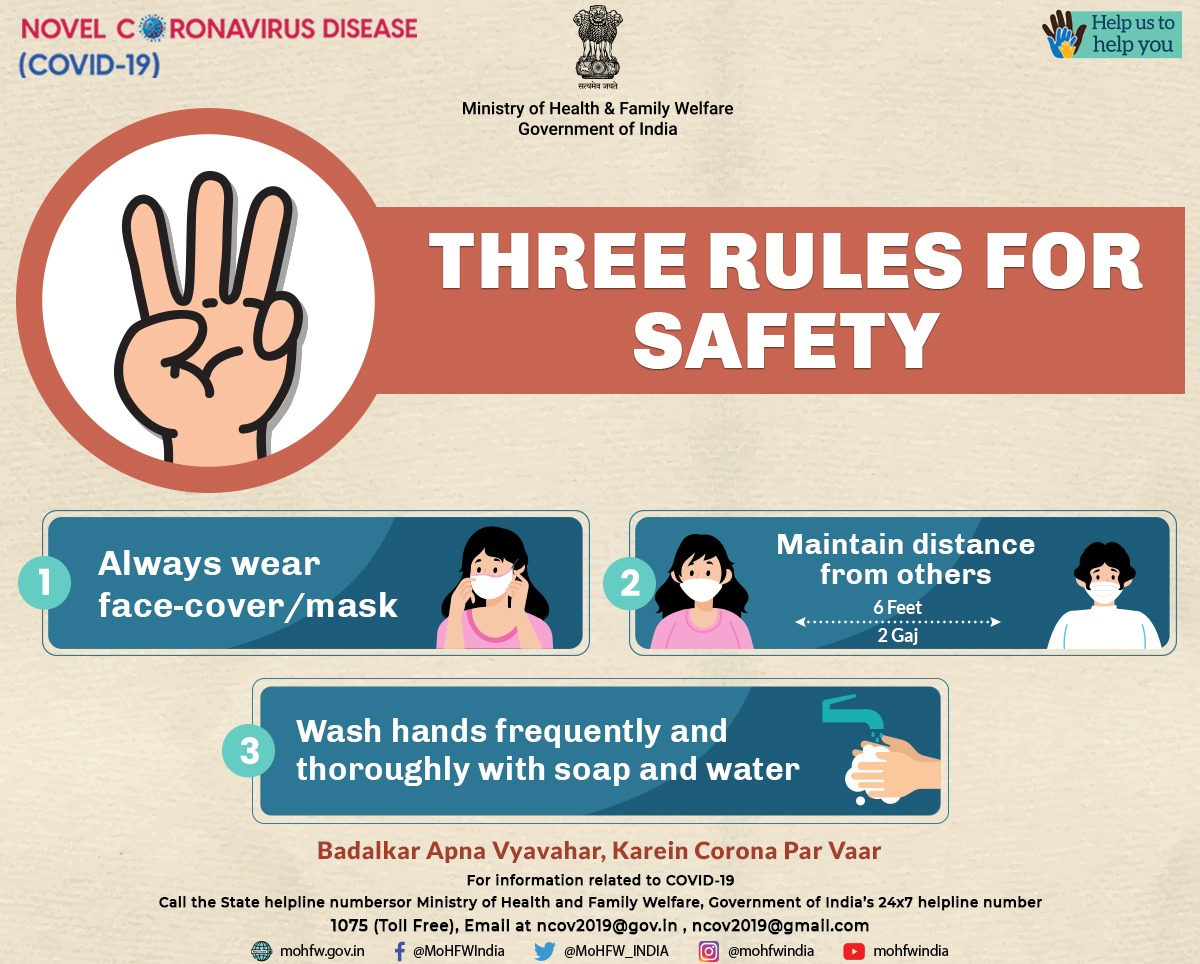 #IndiaFightsCorona:  📍Three rules for safety👇  ✅Always wear face cover/mask 😷  ✅ Maintain distance from others  ✅Wash hands 👐 frequently and thoroughly with soap 🧼 and water 💧  #StaySafe #Unite2FightCorona