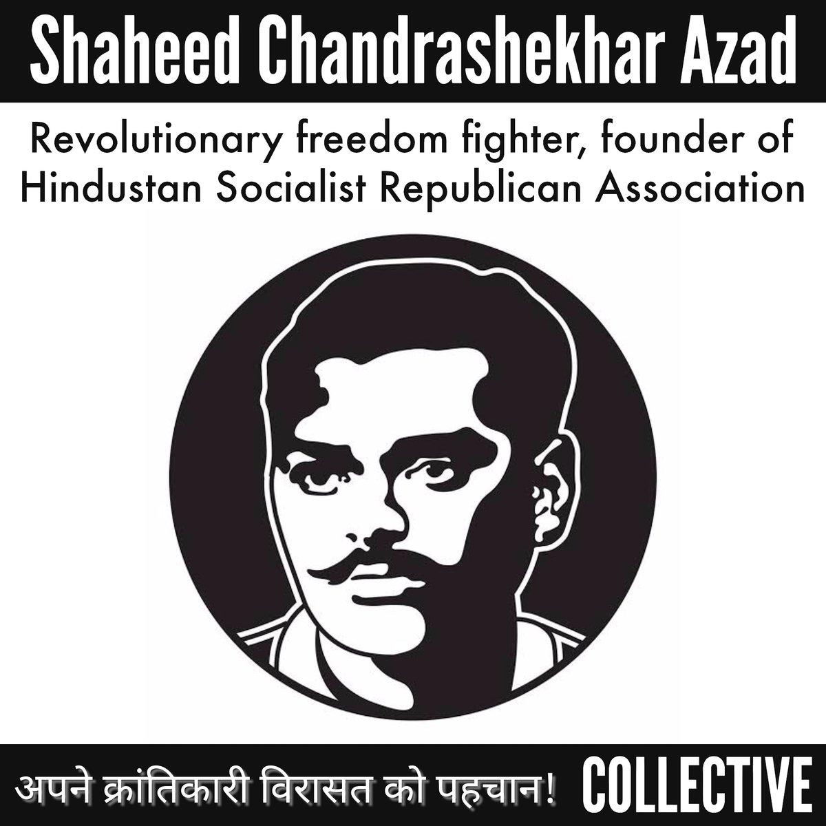 #ChandrashekharAzad zinda hai kheton mei, karkhanon mei.  Drawing strength from the revolutionary ideals of a Socialist South Asian 'azadi' that Kakori martyrs died for. #martyrsday #lalsalaamcomrade
