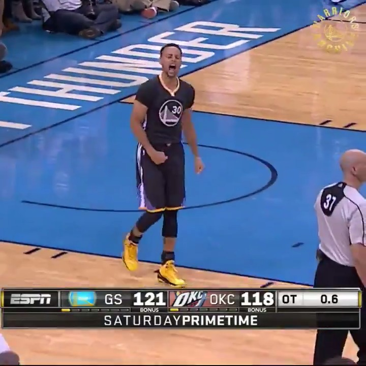 They do have a timeout, decide not to use it. Curry, way downtown.... BANG! BANG! Oh, what a shot from Curry!  Five years ago today. #StephGonnaSteph