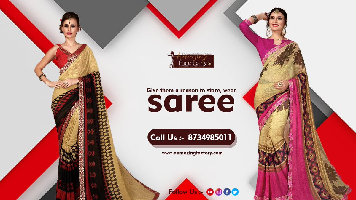 """Every sari talks, more than you know and I know."" #anmazingfactory #saree #beautiful #fridaymorning #StaySafe #XboxSeriesX #Instagram #twitch #LFC #Fortnite #gold #CallofDuty #motivation #PlayStation #Cricket #WhatsApp #WandaVision #Apple #Pokemon #game #life #SidharthShukla #ad"