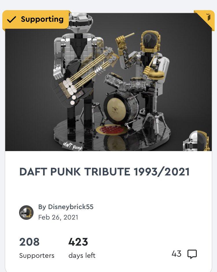 Mais comment je rêve d'avoir un set similaire! N'hésitez pas à aller voter pour ce projet qui sort tout droit de la tête bien faite de mon copain @disneybrick #daftpunk #lego @LEGO_Group @DaftPunk_Music #afol