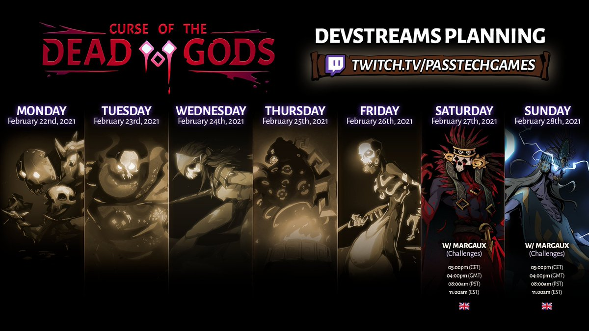 Let's start off the weekend right with the schedule for our upcoming devstreams of Curse of the Dead Gods!  ➡️