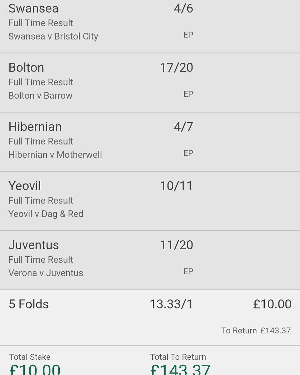 Today's main bet. I've lost nearly 4 points on this by waiting until now to back it. It was originally almost 17/1. Now the weather is better maybe  back have to go back to backing early. #betting #gambling #football #footballbetting #footballgambling