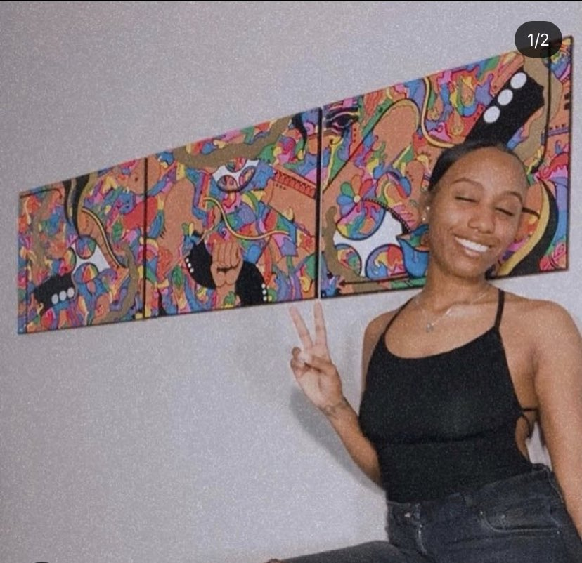 MAJOR S/O TO MY LIL COUSIN STILL DOIN HER THING IN THE ART WORLD!!! BACK IN 2016 AKILAH BECAME THE FIRST AFRICAN AMERICAN TEEN TO WIN @Google #DoodleforGoogle contest🙌🏾 (THE PIC ON RIGHT WAS THE ONE FOR GOOGLE)follow her on IG: thrillsonthrillz #BlackHistoryMonth