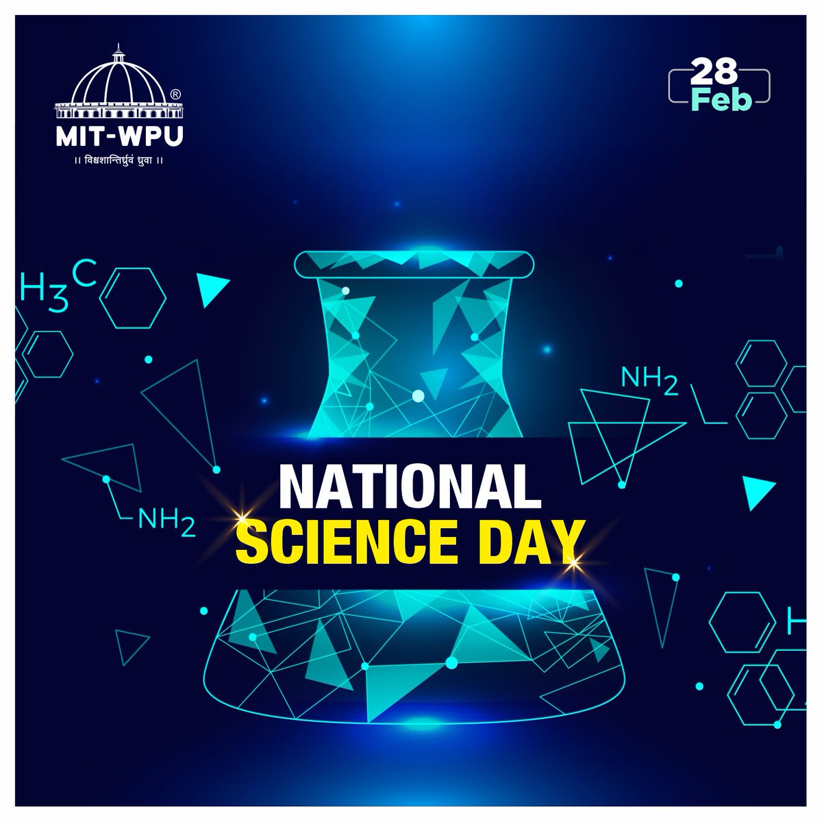National Science Day has commemorated the discovery of the Raman Effect by C.V. Raman. MIT-WPU salutes the efforts of every scientist of our country to create innovations and inventions.   #MITWPU #NationalScienceDay #Future #STI #education #work #innovation #invention