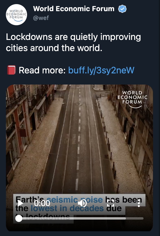 "We're deleting this tweet. Lockdowns aren't ""quietly improving cities"" around the world. But they are an important part of the public health response to COVID-19."