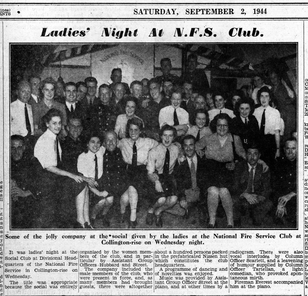 """""""Ladies' Night at N.F.S. Club... the Social Club at Divisional Headquarters of the National Fire Service in Collington Rise... hundred persons packed into the prefabricated Nissen hut which constitutes the club headquarters."""" #Bexhill #Sussex #WW2 #Fire #History #1940s #HomeFront https://t.co/rmgT1p5xOr"""