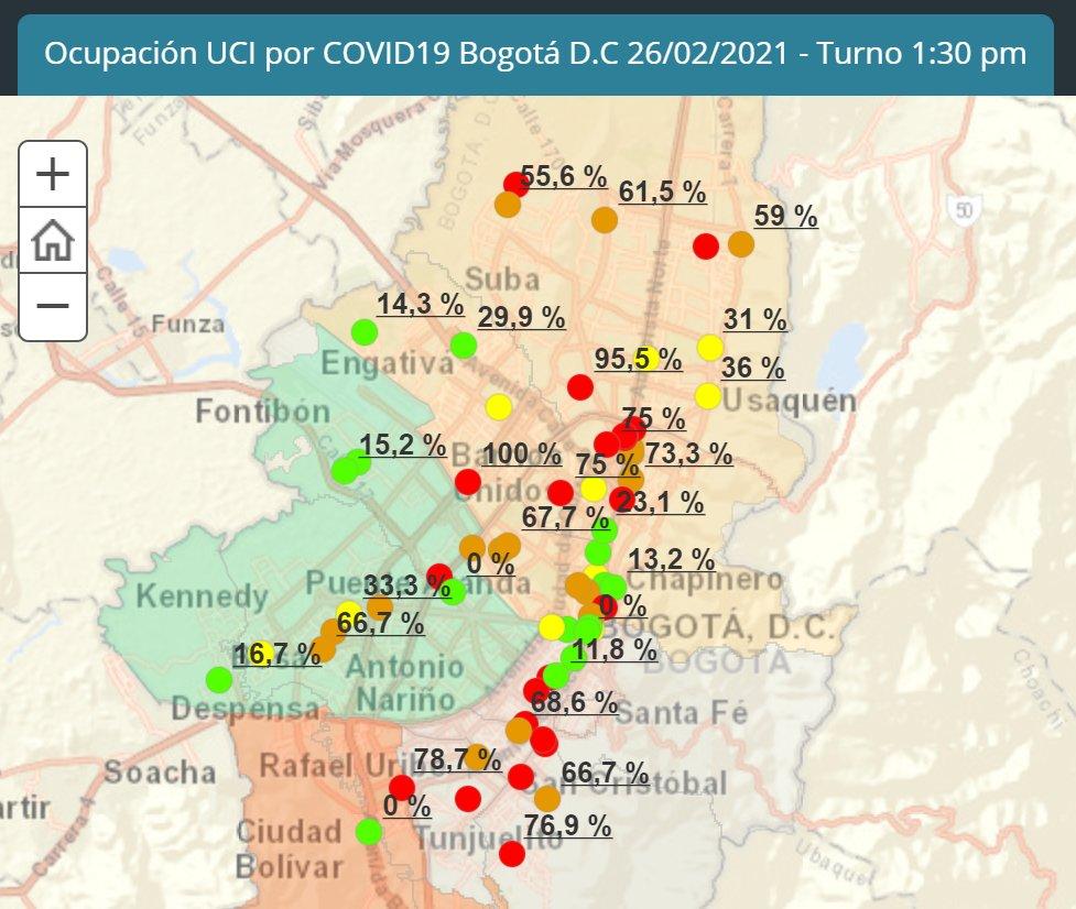MAPA Ocupación UCIs por #COVID_19 en Bogotá D.C. #MapaUCIBogotá Feb 26  Fuente: