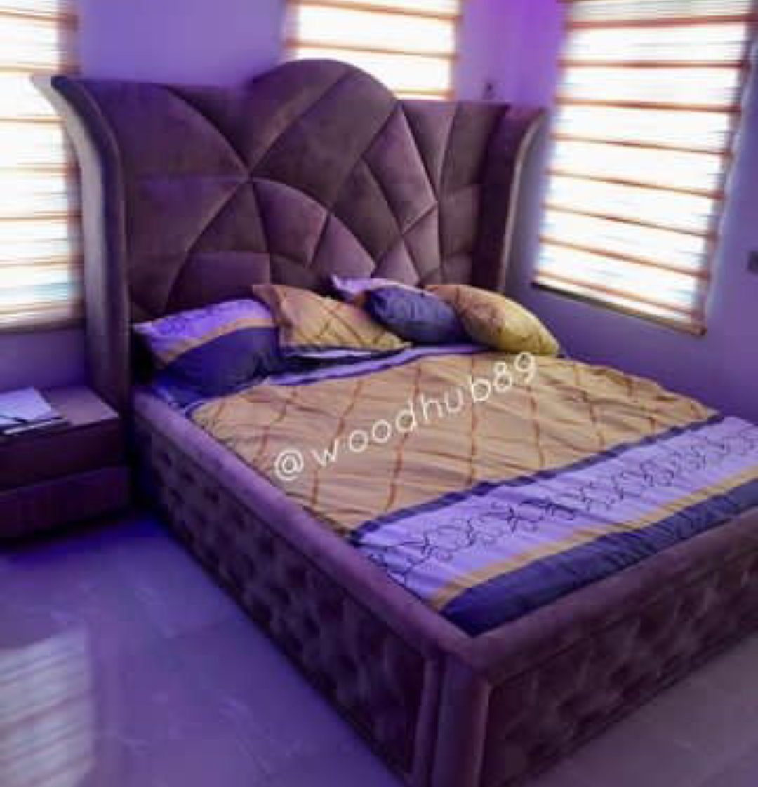 Very unique velvet upholstered bedframe, with two bedside lockers.  Price: N250k NB: Purchase price excludes delivery fees. #aishayesufu #interiordesign #ThunderFireYou #operationburst #davido #Buhari #fridaymorning