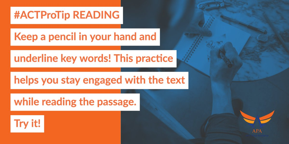 #ACTProTip READING Keeping a pencil in your hand and underlining key words helps you stay engaged with the text while reading the passage. Try it!  #actprep #satprep #testprep #tutoring #act #sat #education #collegeprep #highschool #math #mathtutor #collegeadmissions #tutor https://t.co/gxGlrUKQ6r