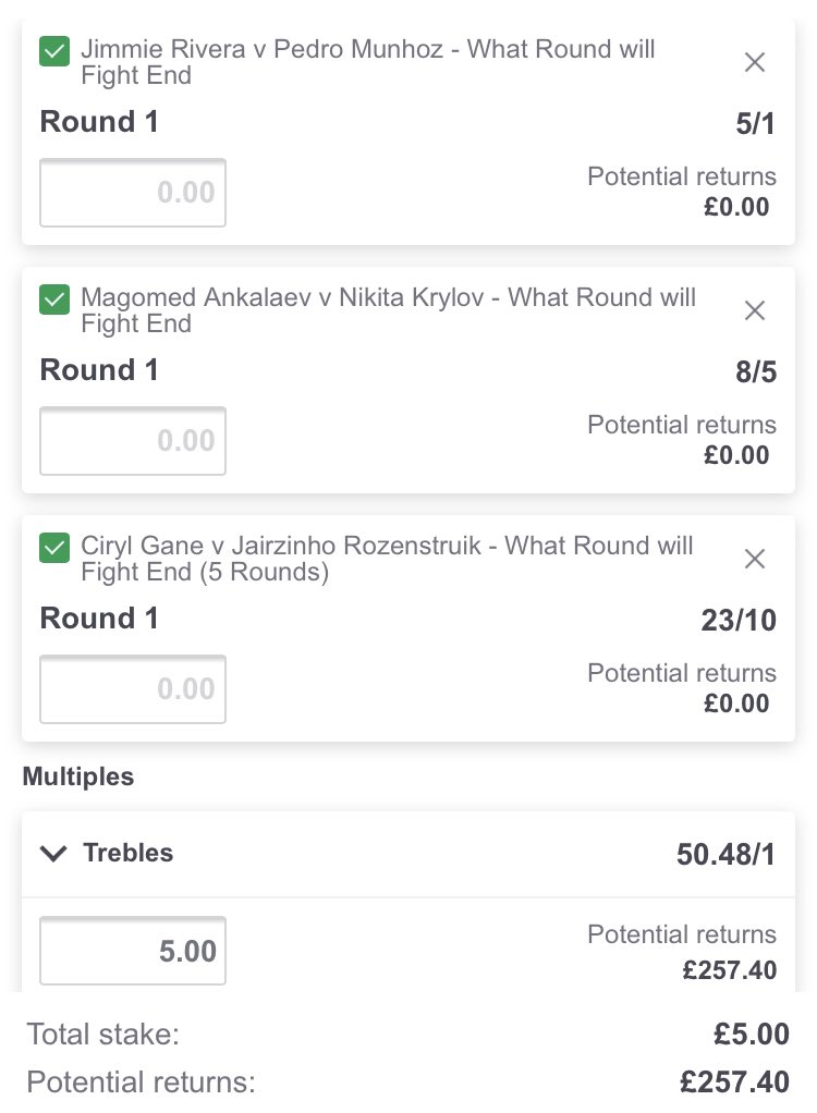 The 1 round treble for tonight's UFC Card. Got to be worth chucking a fiver on?   #UFC #PaddyPower