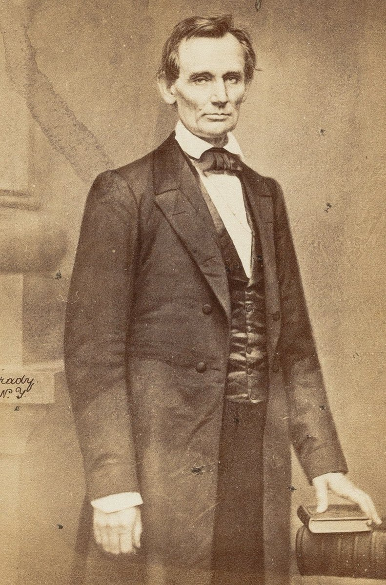 "Lincoln spoke today 1860 at Cooper Union, saying,  ""Neither let us be slandered from our duty by false accusations against us, nor frightened from it by menaces of destruction to the Government nor of dungeons to ourselves."""