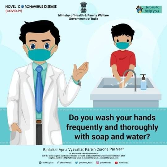 #IndiaFightsCorona:  📍Do you wash your hands 👐 frequently and thoroughly with soap🧼 and water💧❓❓❓  #StaySafe #Unite2FightCorona
