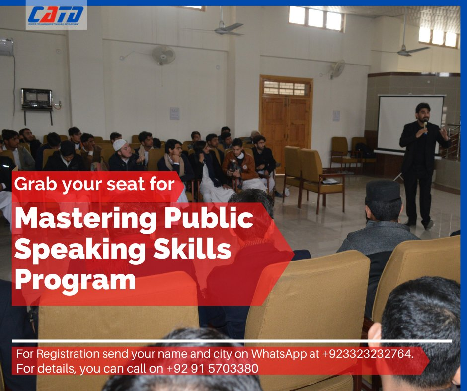 Join us in our Mastering Public Speaking Skills program, to become a professional public speaker. For registration click on the link below:  #catd #impact #training #growth #public #speaking #skills #training #program #joinus