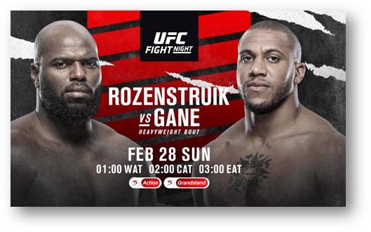 This Sunday, #UFC is back with a clash of hard hitting heavy weights. Its Rozenstruik vs Gane. Get the cage side sit simply upgrade to DStv Compact plus