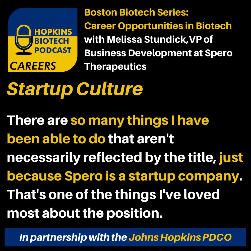 🎙️Check out our discussion with Melissa Stundick, VP of Business Development at Spero Therapeutics!   🤝Join the .@JHUPhDCareers Boston Biotech Community:   #scicomm#gohop  #phd #podcast #science #research #biotech #careers #boston