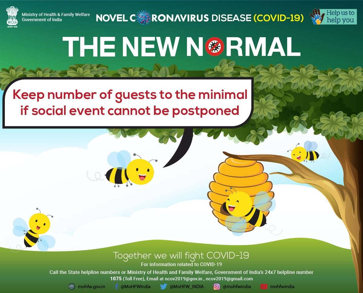 #IndiaFightsCorona:  #NewNormal says 'less is more'  Keep number of guests to the minimal during social events  #Unite2FightCorona #StaySafe