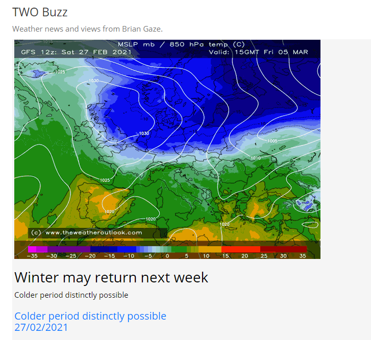 Winter may return next week - Colder period distinctly possible Posted 27th February,16:50 Todays Buzz here theweatheroutlook.com/buzz/5656/wint…